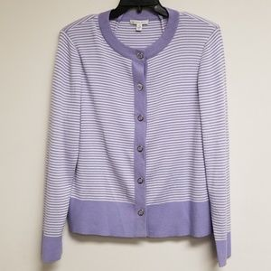 St. John Sport Striped Wool Blend Button Cardigan